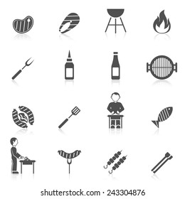 Bbq grill equipment icon black set with skewer ketchup sauce isolated vector illustration