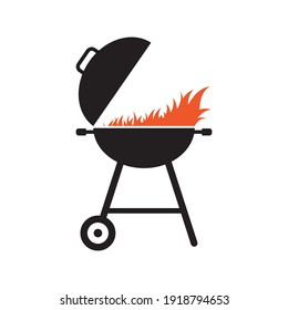 BBQ grill icon. Barbecue with fire. Vector illustration.
