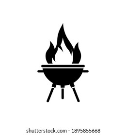 BBQ grill icon isolated on white background. Black badge logo. Simple flat style. Vector illustration.