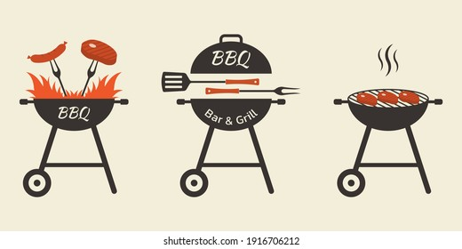BBQ and grill icon set. Barbecue logo or badge design with fire, meat, steak, sausage, fork and spatula. Vector illustration.