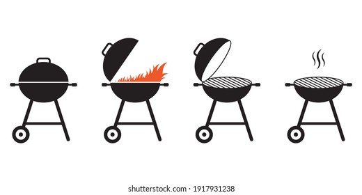 BBQ and grill icon set. Barbecue signs with fire and smoke. Picnic and outdoor cooking concept. Vector illustration.