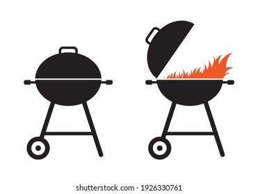 BBQ and grill icon set. Barbecue signs with fire. Picnic and outdoor cooking concept. Vector illustration.