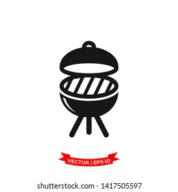 BBQ grill icon in trendy flat design, grill icon