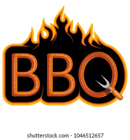 BBQ Grill. ?ooking meat on fire. Barbecue Party. Bbq logo.