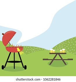 BBQ Grill Party. The image of a grill against a lawn and a table for picnic.