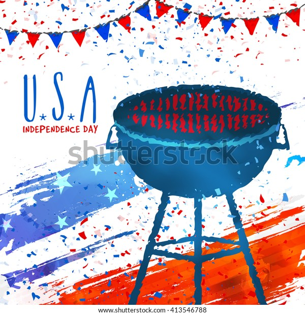 Bbq Grill Party Invitation Card Design Stock Vector Royalty