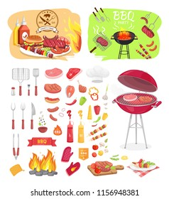 BBQ grill party time isolated icons set vector. Grilling grid for meat roasting. Served beefsteak with vegetables on board. Skewer with onion and pork