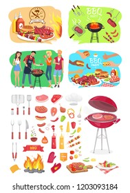 BBQ grill party time posters set isolated icons vector. Barbeque cooking people roasting beef meat on grid. Vegetables veggies and cutlery for picnic