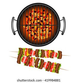 BBQ grill with realistic shish Kebab  on white background