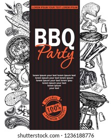Bbq Grill Restaurant Food Menu Design. Barbecue Cafe Brochure, flyer, booklet, card.