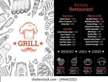 BBQ & grill restaurant menu. Barbeque meat graphic. Cafe poster, menu, leaflet, flyer, invitation design. Trendy hipster template with chef hat label, doodle food illustrations. Vintage sketch vector