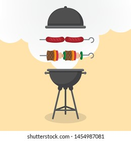 Bbq with grill and smokr. Barbecue, sausages, Flat style, vector illustration.