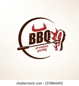 bbq and grill  stylized vector symbol, label and emblem template