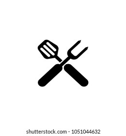 BBQ Grill Tools. Crossed Barbecue Fork with Spatula. Flat Vector Icon. Simple black symbol on white background