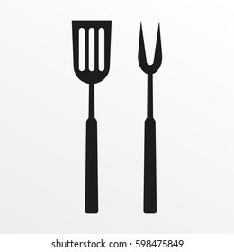 BBQ or grill tools icon. Barbecue fork with spatula. Vector illustration.