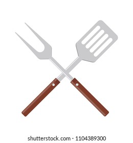 BBQ or grill tools icon. Crossed barbecue fork with spatula. Symbol Template Logo. Vector illustration flat design. Isolated on white background.