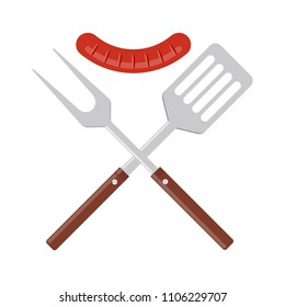 BBQ or grill tools icon. Crossed barbecue fork and spatula with grilled sausage. Symbol Template Logo. Vector illustration flat design. Isolated on white background.
