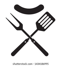 BBQ or grill tools icon. Crossed barbecue fork and spatula with sausage. Symbol template logo. Isolated vector illustration on white background.
