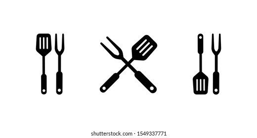 BBQ or grill tools icon. Crossed barbecue fork with spatula. Black simple silhouette. Symbol Template Logo. Vector illustration flat design. Isolated on white background