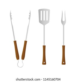 BBQ and grill tools icon set. Barbecue utensil: spatula, fork and tongs. Vector illustration.