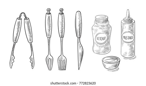 bbq and grill tools isolated on white background. Vector illustration