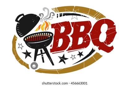 BBQ Grill vector icon, BBQ in red text with black grill cooking with orange flames and gray smoke
