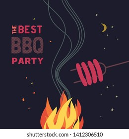 BBQ grilled sausages flat hand drawn vector color icon. Barbecue design element. Grilling pork sausage camping fire cartoon. Grill bbq picnic party sign. Meat restaurant menu background illustration