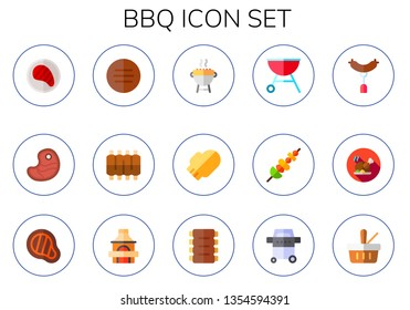 bbq icon set. 15 flat bbq icons.  Simple modern icons about  - steak, meat, ribs, grill, oven mitt, skewer, sausage, roast chicken, picnic