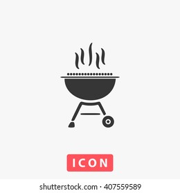 bbq Icon Vector. Simple flat symbol. Perfect Black pictogram illustration on white background.