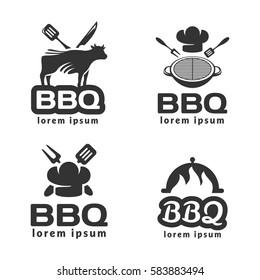 BBQ logo set. BBQ icon. Grill icon. BBQ party. Barbecue Grill isolated. BBQ Grill flame. Barbecue ribs sign. Family barbecue label. Cafe, Restoran, Grill Bar logo. Cow icon.