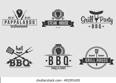 BBQ logos white and black