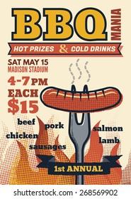 bbq mania party for invitation  flyer or poster