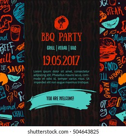 BBQ opening party announcement. Doodle hand-drawn poster with barbeque accessories, lettering, event date and time vector illustration