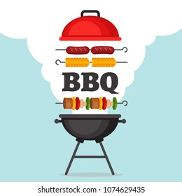 Bbq party background with grill and fire. Barbecue poster. Flat style, vector illustration.