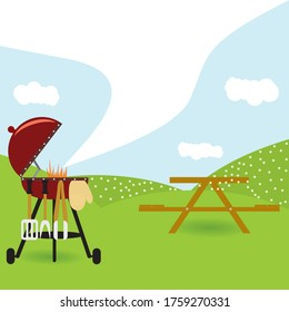 Bbq party background with grill and fire in outdoor. Barbecue poster. Vector illustration.