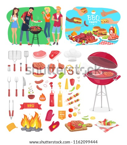 bbq party barbeque posters isolated icons stock vector royalty free