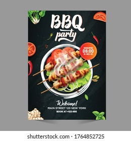 BBQ party flyer pamphlet brochure cover design layout with vector photo background, vector illustration template in A4 size