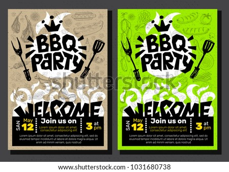 bbq party food poster barbecue template のベクター画像素材