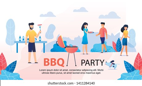 BBQ Party with Friends Motivational Flat Banner. Cartoon People Spending Time Together. Picnic in Nature. Vector Table with Food and Drinks, Grill with Meat. Happy Summer Barbeque Illustration