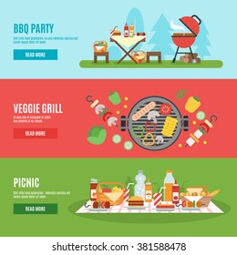 BBQ party horizontal banner set with veggie grill elements flat isolated vector illustration