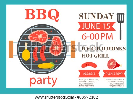bbq party invitation barbecue invitation flyer stock vector royalty