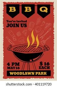 BBQ party invitation flyer outline doodle vintage style