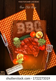 Bbq party invitation with fried chicken, food elements on wooden background. Barbecue poster. Food flyer. Vector design for celebration, invitation, greeting card. EPS 10