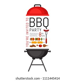 Bbq party invitation with grill and food. Barbecue poster. Food flyer. Flat style, vector illustration.