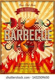 Bbq party invitation with grill, food sketches elements and fire on grunge yellow. Barbecue poster. Food flyer. Vector design for celebration, invitation, greeting card.