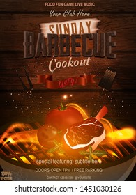 Bbq party invitation with grill, food  elements and fire on wooden. Barbecue poster. Food flyer. Vector design for celebration, invitation, greeting card.