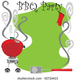 BBQ Party Invitation with smoking hot grill