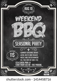 BBQ party invitation template with floral pattern on chalkboard. Summer Barbecue weekend flyer. Grill illustration with food sketches elements. Vector design for celebration, invitation, greeting card