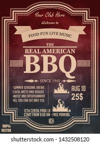 BBQ party invitation template with geometric elements on a chalkboard. Summer Barbecue weekend flyer. Grill illustration with barbeque  elements. Vector design for celebration, invitation cards