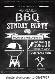 BBQ party invitation template on chalkboard. Summer Barbecue weekend flyer. Grill illustration with food sketches elements. Vector design for celebration, invitation, greeting card